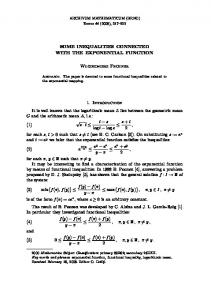 SOME INEQUALITIES CONNECTED WITH THE EXPONENTIAL FUNCTION. Włodzimierz Fechner