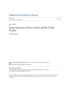 Some Questions About Gender and the Death Penalty