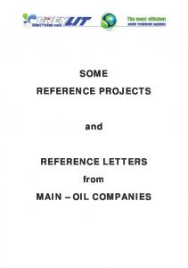 SOME REFERENCE PROJECTS. and REFERENCE LETTERS. from MAIN OIL COMPANIES