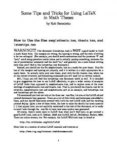 Some Tips and Tricks for Using LaTeX in Math Theses