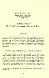 Somebody Knock in': The Public Library at the Electronic Door