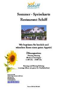 Sommer - Speisekarte Restaurant Schiff