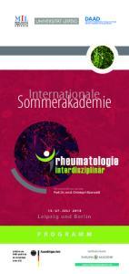 Sommerakademie. Internationale. Leipzig und Berlin JULI Wissenschaftliche Leitung Prof. Dr. med. Christoph Baerwald