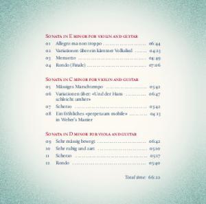 Sonata in E minor for violin and guitar. Sonata in C minor for violin and guitar. Sonata in D minor for viola and guitar