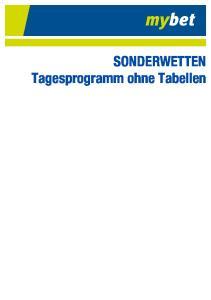 SONDERWETTEN Tagesprogramm ohne Tabellen