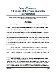 Song of Solomon: A Defense of the Three Character Interpretation