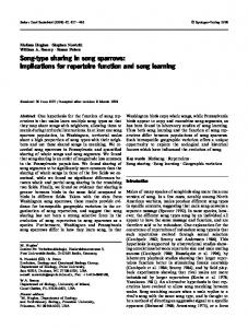 Song-type sharing in song sparrows: implications for repertoire function and song learning