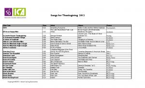 Songs for Thanksgiving 2012