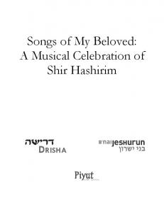 Songs of My Beloved: A Musical Celebration of Shir Hashirim DRISHA