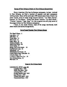 Songs of New Orleans Origin by New Orleans Songwriters