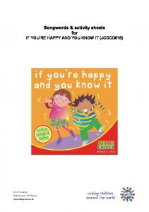 Songwords & activity sheets for IF YOU RE HAPPY AND YOU KNOW IT (JCGCD616)