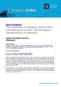 Sonia Livingstone The challenge of engaging youth online: contrasting producers' and teenagers' interpretations of websites