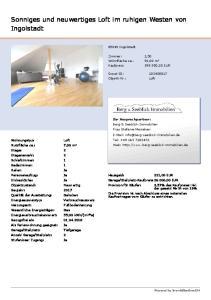 Sonniges und neuwertiges Loft im ruhigen Westen von Ingolstadt