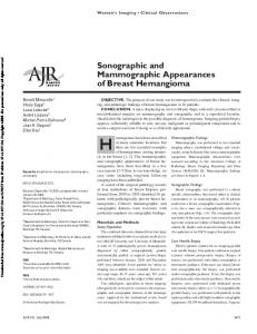 Sonographic and Mammographic Appearances of Breast Hemangioma