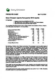 Sony Ericsson reports first quarter 2010 results
