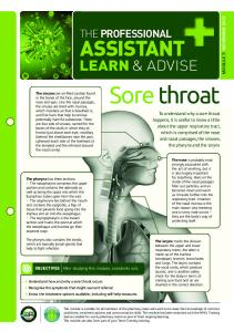 Sore throat ASSISTANT LEARN & ADVISE THE PROFESSIONAL