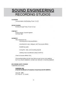 SOUND ENGINEERING RECORDING STUDIOS