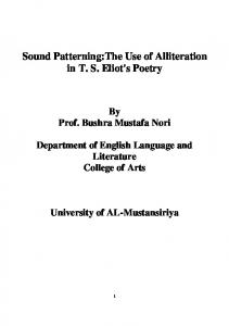 Sound Patterning:The Use of Alliteration in T. S. Eliot's Poetry