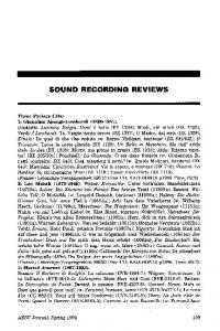 SOUND RECORDING REVIEWS