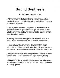 Sound Synthesis PITCH = THE OSCILLATOR