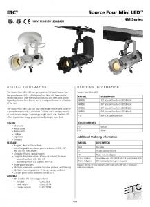Source Four Mini LED ETC. 4M Series ORDERING INFORMATION GENERAL INFORMATION. Additional Ordering Information. Source Four Mini LED