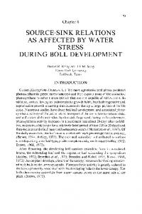 SOURCE-SINK RELATIONS AS AFFECTED BY WATER STRESS DURING BOLL DEVELOPMENT