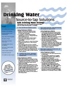 Source-to-Tap Solutions. Safe Drinking Water Strategy