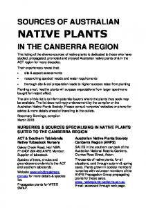 SOURCES OF AUSTRALIAN IN THE CANBERRA REGION