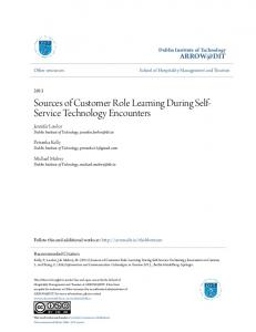 Sources of Customer Role Learning During Self- Service Technology Encounters