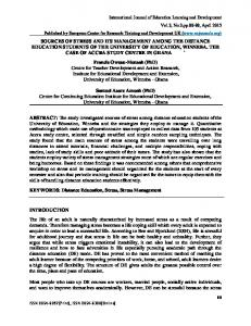 SOURCES OF STRESS AND ITS MANAGEMENT AMONG THE DISTANCE EDUCATION STUDENTS OF THE UNIVERSITY OF EDUCATION, WINNEBA