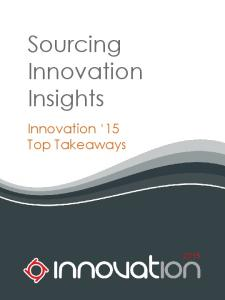 Sourcing. Innovation Insights. Innovation 15 Top Takeaways