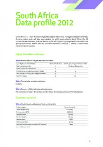 South Africa Data profile 2012
