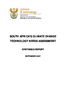 SOUTH AFRICA S CLIMATE CHANGE TECHNOLOGY NEEDS ASSESSMENT SYNTHESIS REPORT