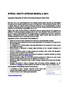 SOUTH AFRICAN MOOCs in 2014