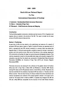 South African National Report To The International Association of Geodesy