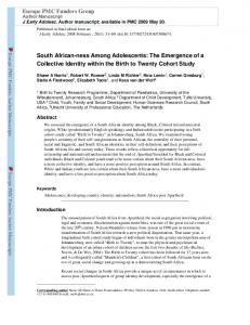 South African-ness Among Adolescents: The Emergence of a Collective Identity within the Birth to Twenty Cohort Study