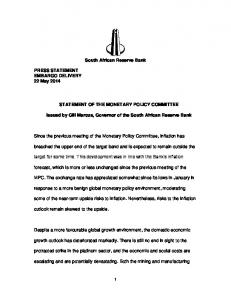 South African Reserve Bank STATEMENT OF THE MONETARY POLICY COMMITTEE. Issued by Gill Marcus, Governor of the South African Reserve Bank