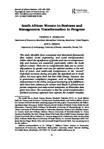 South African Women in Business and Management: Transformation in Progress