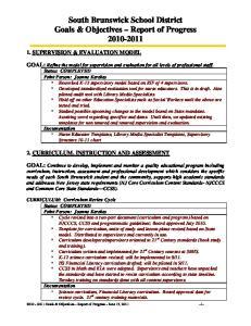 South Brunswick School District Goals & Objectives Report of Progress