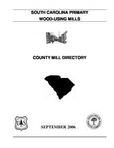 SOUTH CAROLINA PRIMARY WOOD-USING MILLS COUNTY MILL DIRECTORY