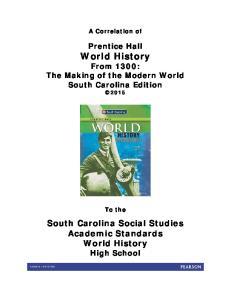 South Carolina Social Studies Academic Standards World History High School