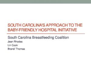SOUTH CAROLINA'S APPROACH TO THE BABY-FRIENDLY HOSPITAL INITIATIVE