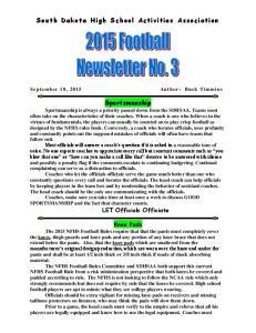 South Dakota High School Activities Association. Sportsmanship