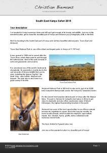South East Kenya Safari 2015