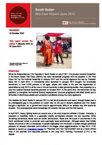 South Sudan Mid-Year Report June 2012