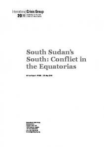 South Sudan s South: Conflict in the Equatorias