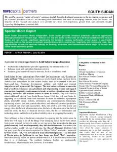 SOUTH SUDAN. Special Macro Report