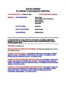 SOUTH WEBER PLANNING COMMISSION MEETING