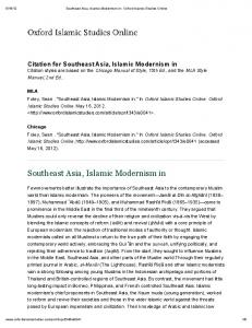 Southeast Asia, Islamic Modernism in