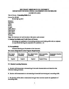 SOUTHEAST MISSOURI STATE UNIVERSITY DEPARTMENT OF EDUCATIONAL LEADERSHIP AND COUNSELING COURSE SYLLABUS